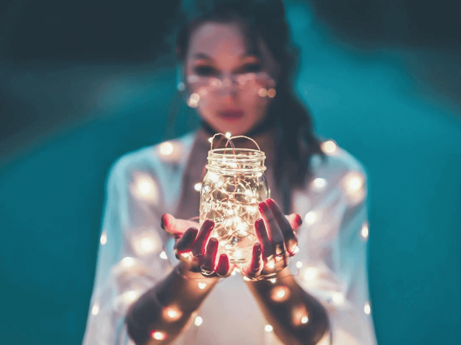 fairy lights photography in mason jar