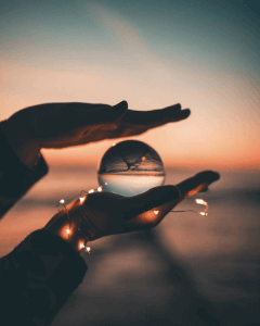 lensball photography with fairy lights