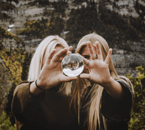 portraits with glass ball photo