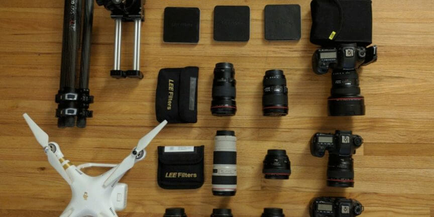camera gear of landscape and interior photographer