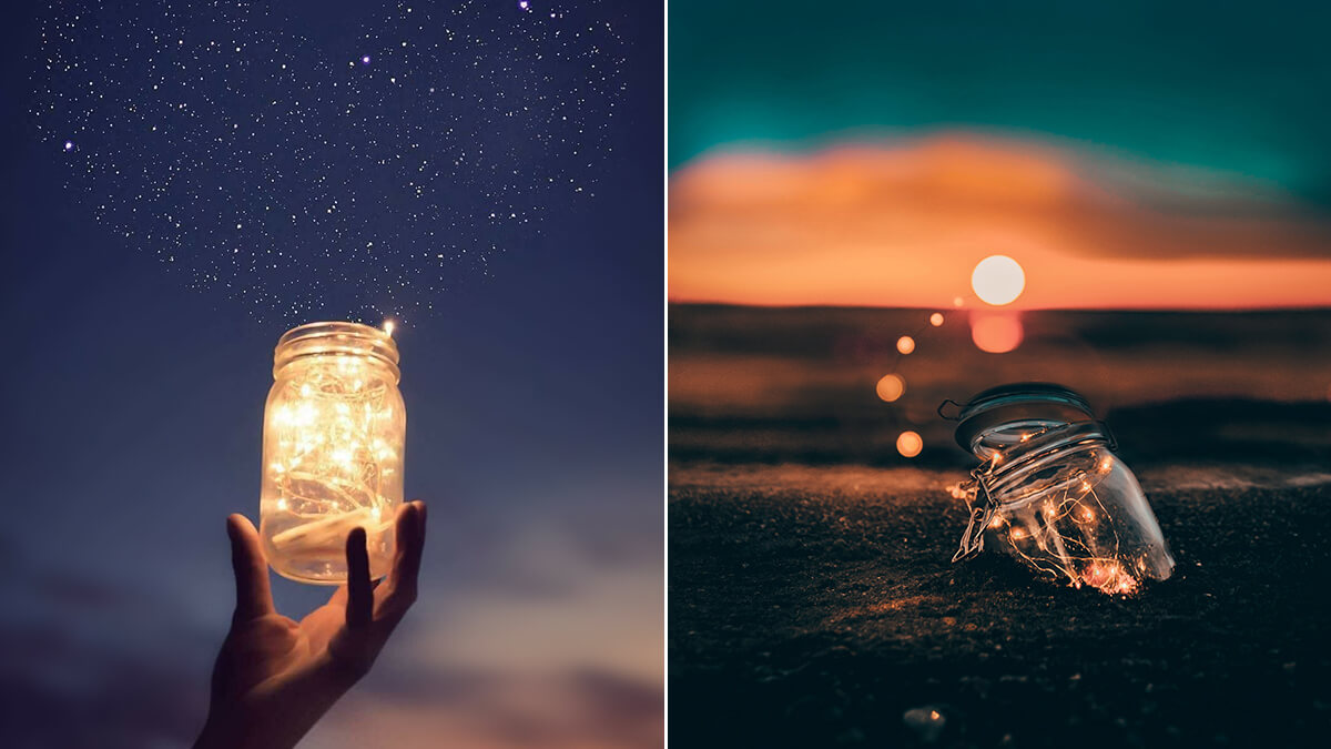 Fairy Lights Photography with a Mason Jar