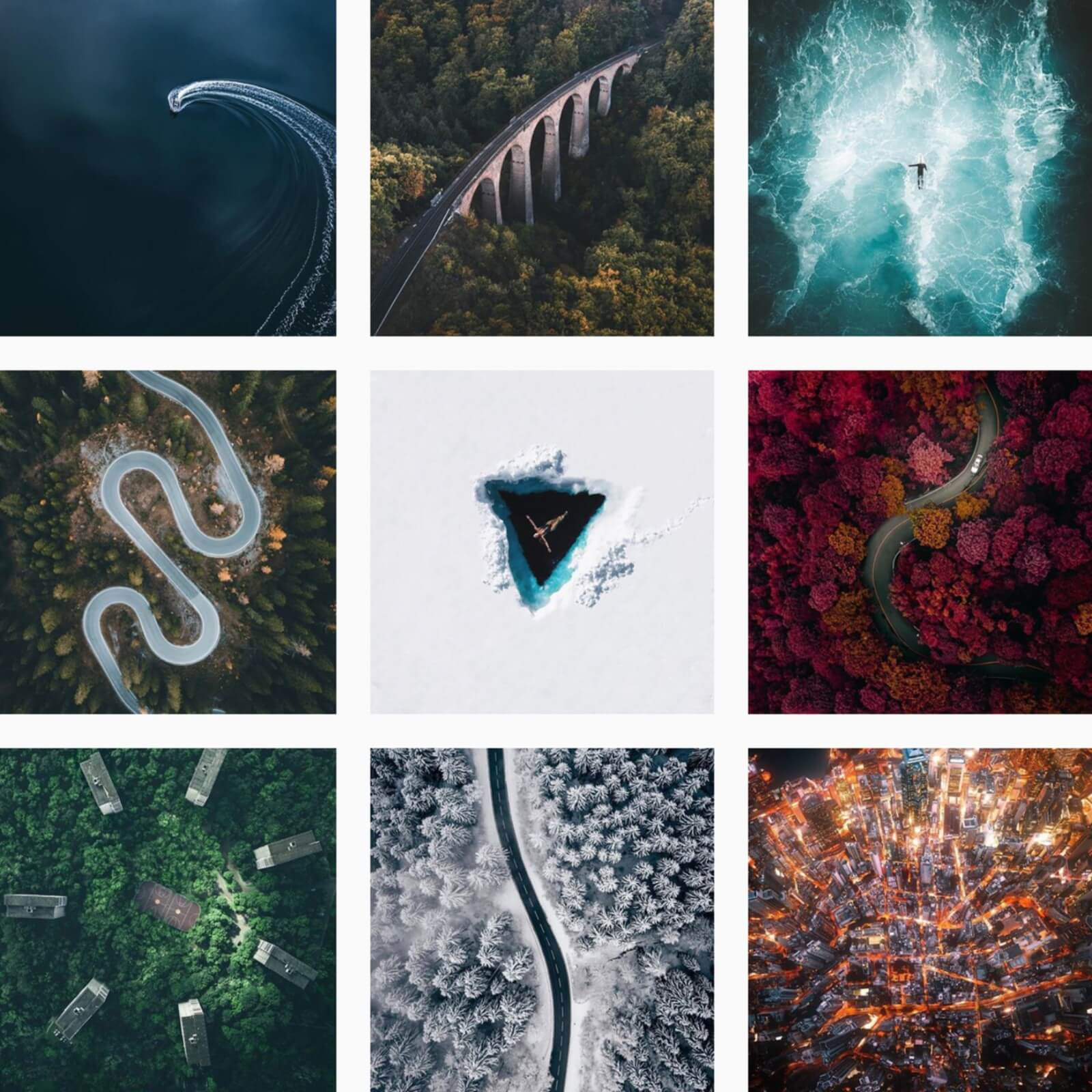 @dronegrids top down photography