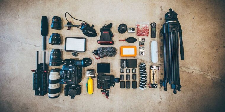 photography gear flatlay