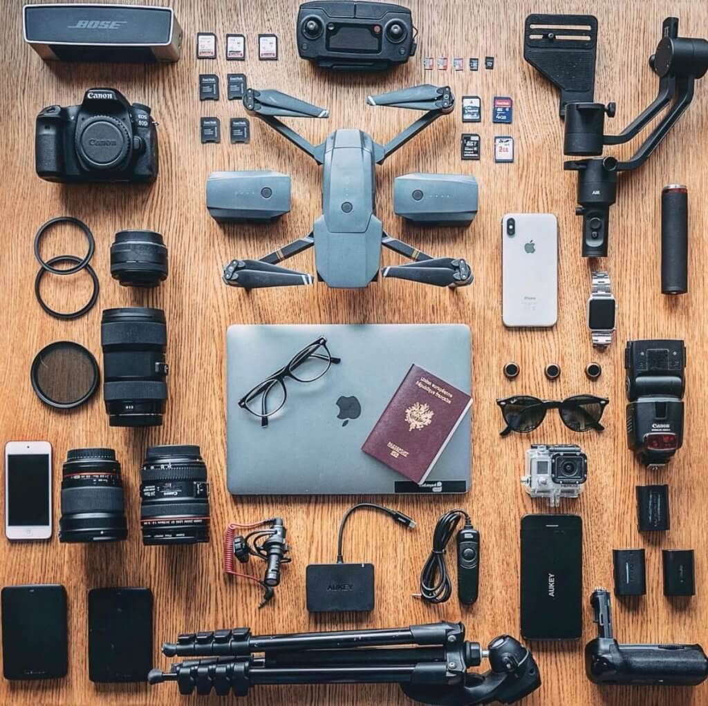 travel photography bag spread