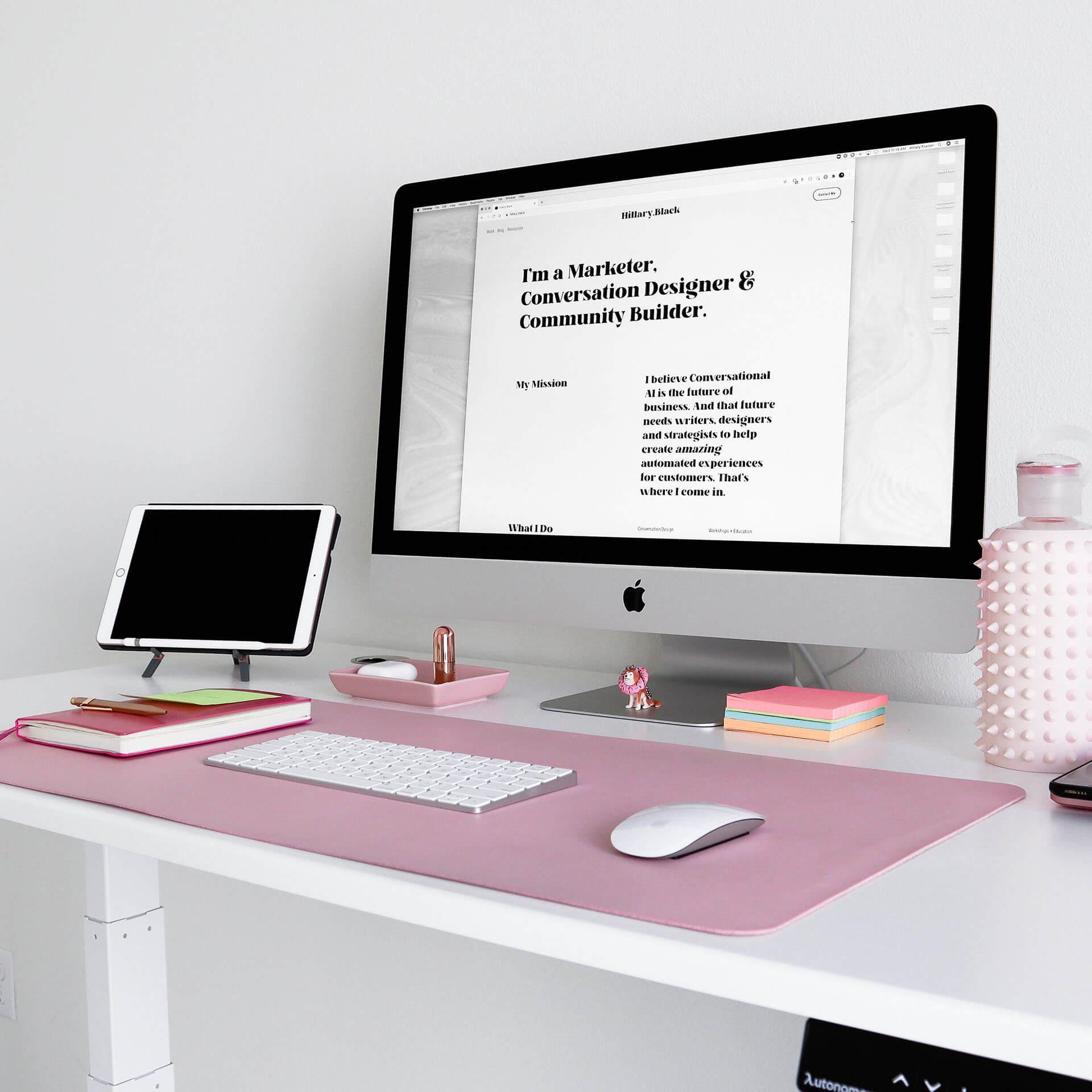 Pink Desk Mat Setup