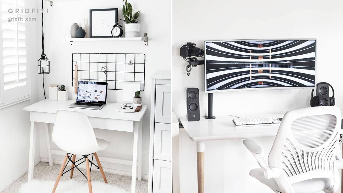 Minimalist All-White Desk Setup