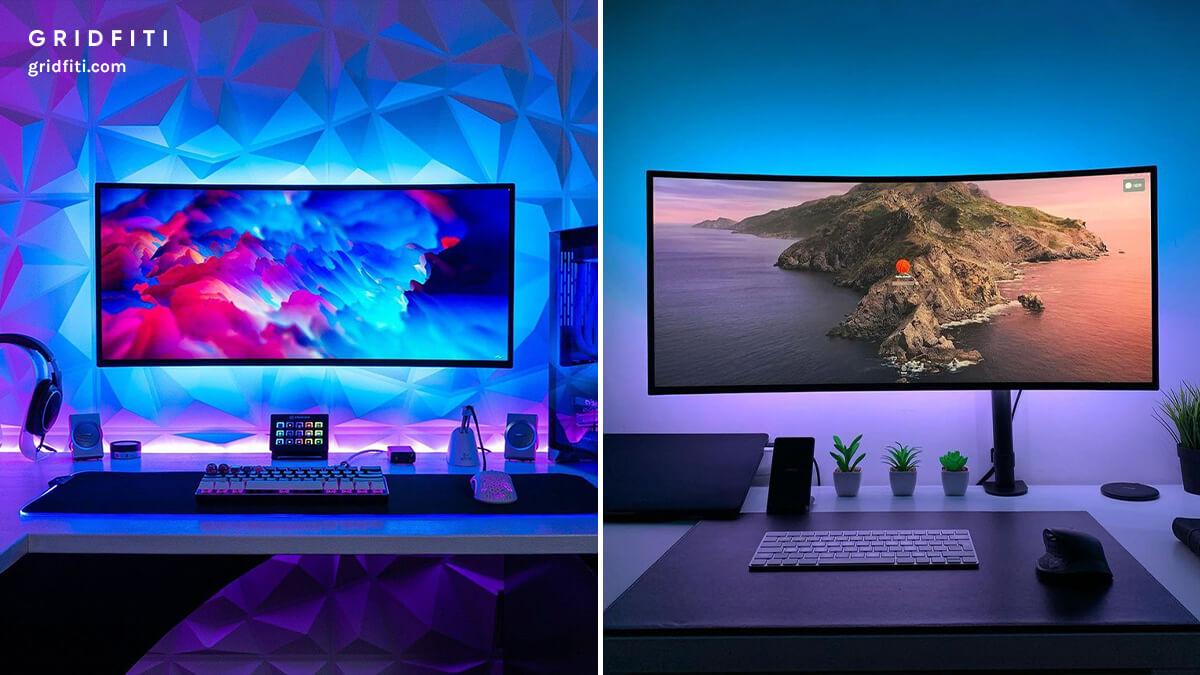 Colorful Home Office LED Desk Setup