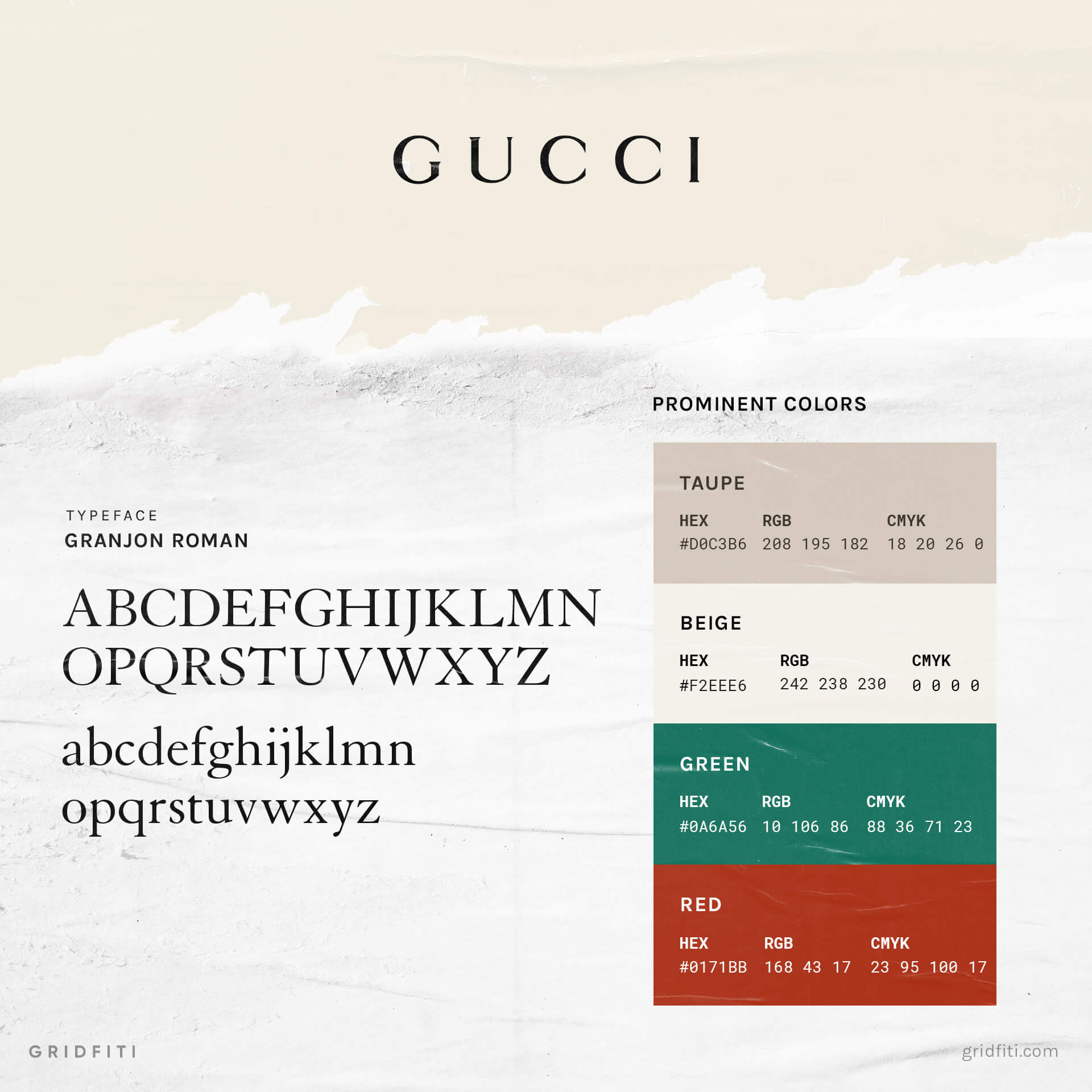 Gucci Colors & Font Style