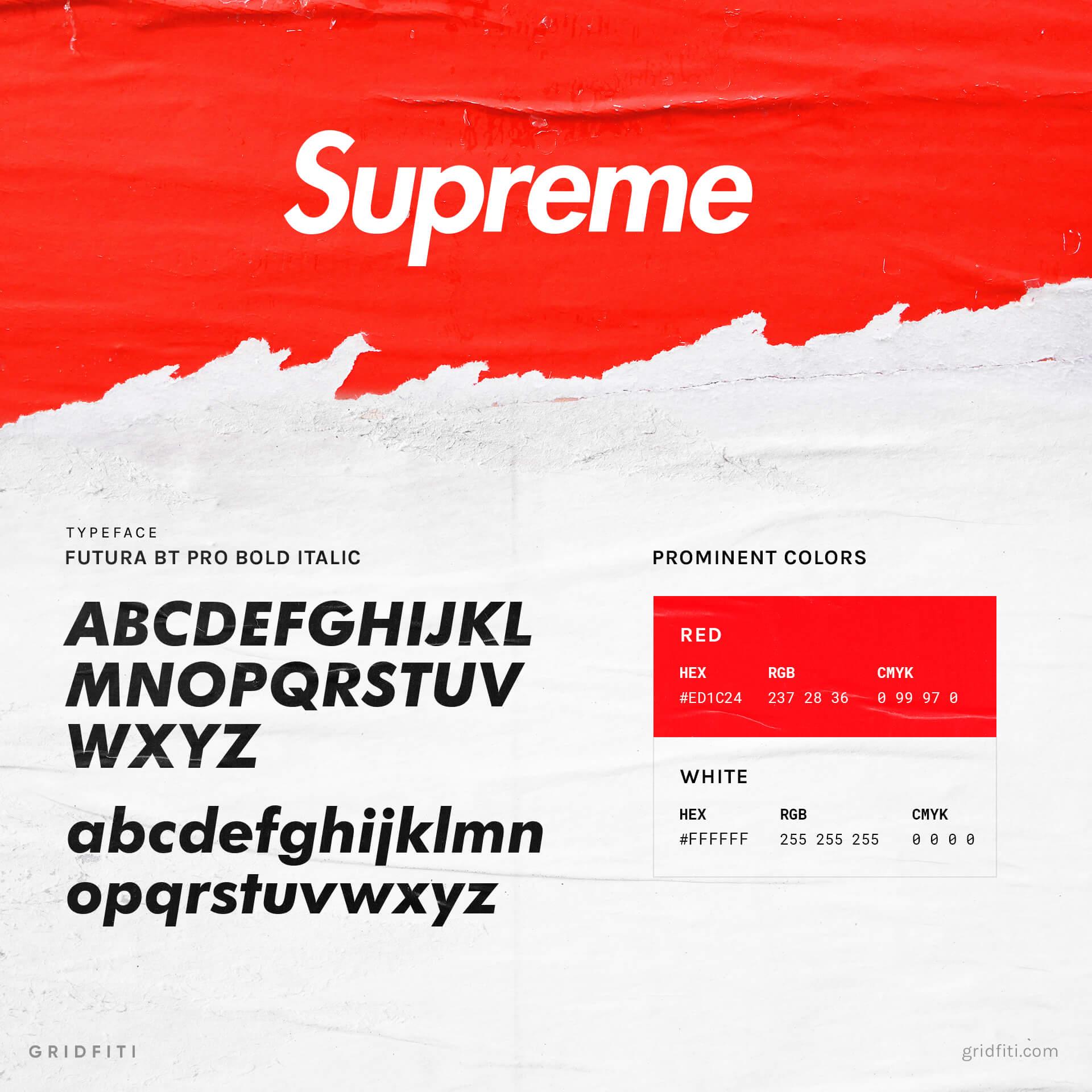 Supreme Font & Red Color
