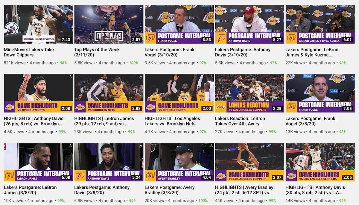 Official NBA team youtube channels LA Lakers