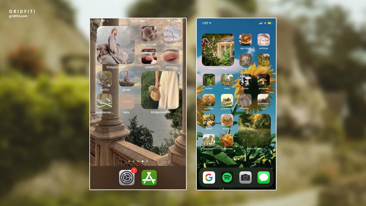 Cottagecore iOS 14 Phone Layout Ideas