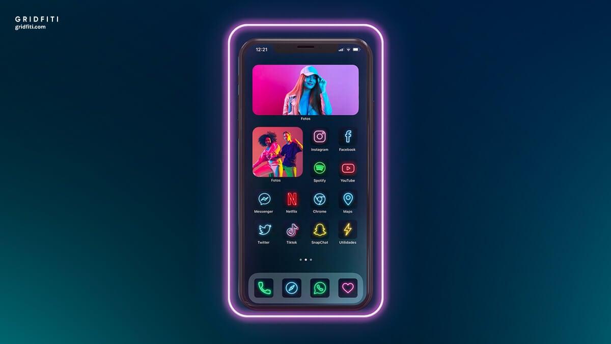 iOS 14 Neon Theme