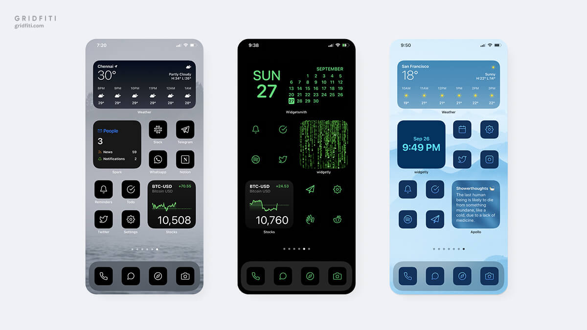 Colorful Modern Home Screen Idea for iOS 14