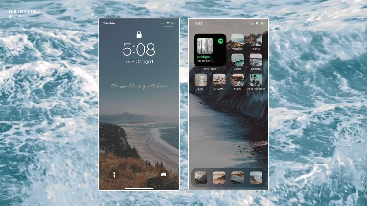 Ocean & Beach iOS 14 Home Screen Design