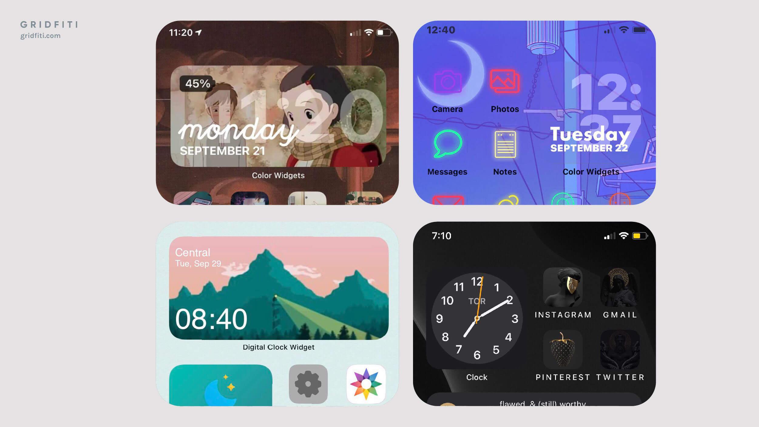 Aesthetic iOS 14 Clock Widgets