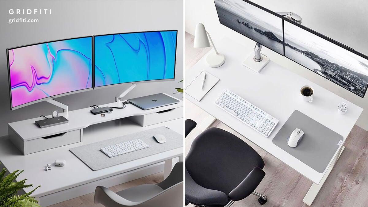 Dual Monitor Office Desk Setup