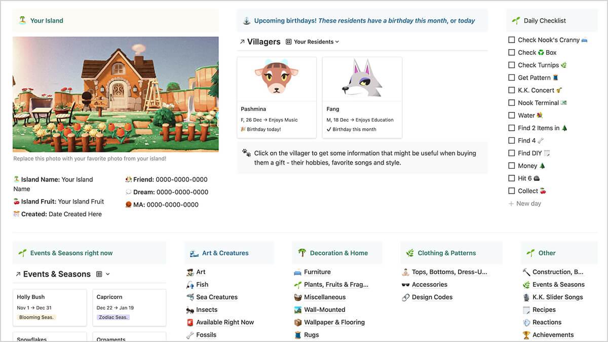 Animal Crossing Notion Layout