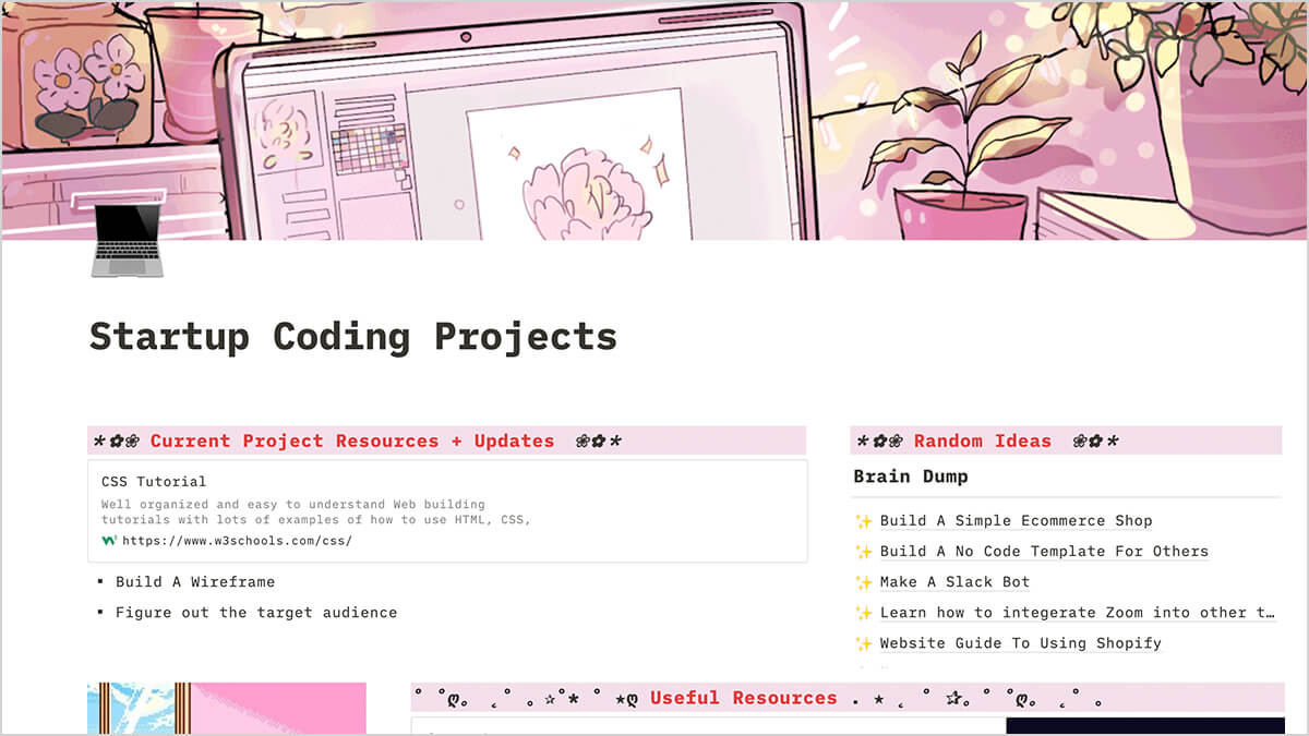 Aesthetic Coding Template for Notion