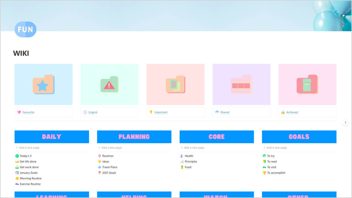 Colorful Pastel Notion Layout