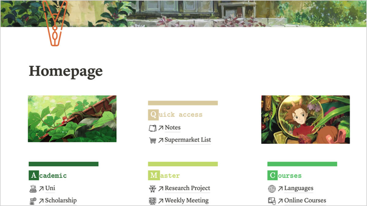 Aesthetic Green Notion Template