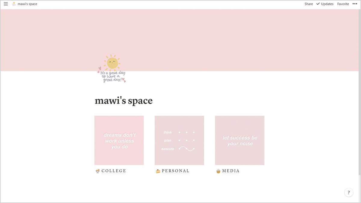 Minimal Pink Pastel Homepage Notion