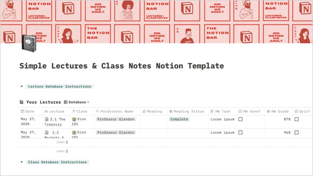 Aesthetic Student Notion Notes Template