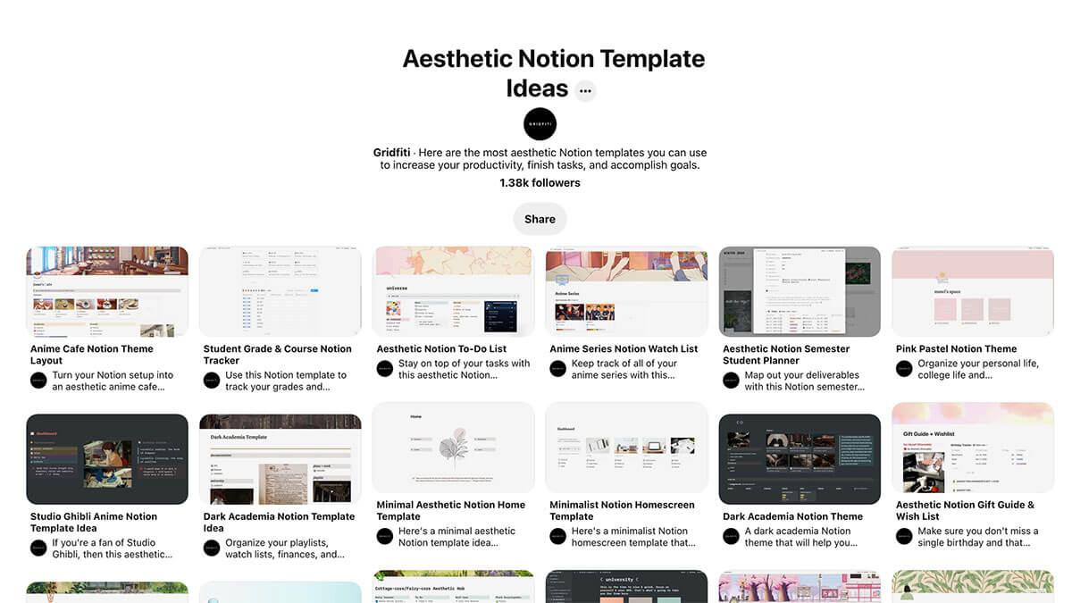 Notion Template Pinterest Inspo