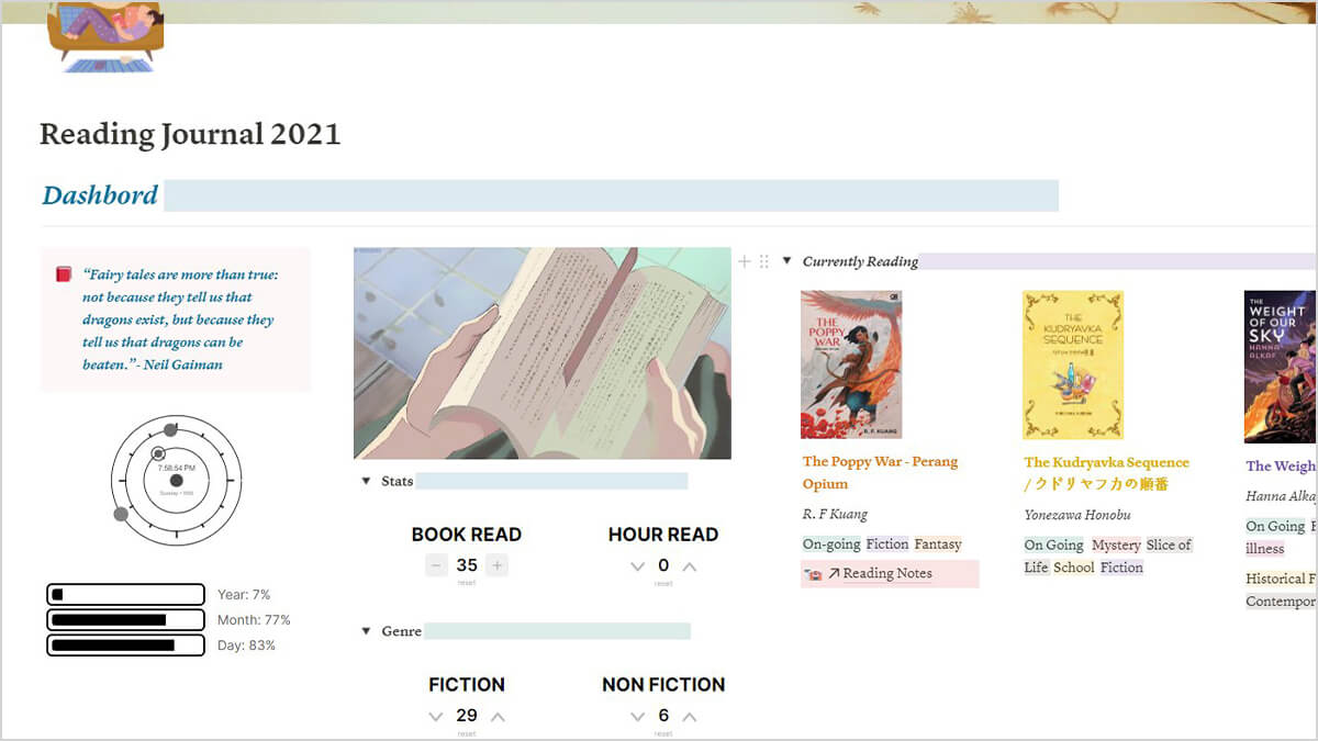 Notion Book List & Reading Journal
