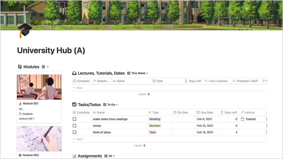 Student Productivity Hub - Anime Notion Template