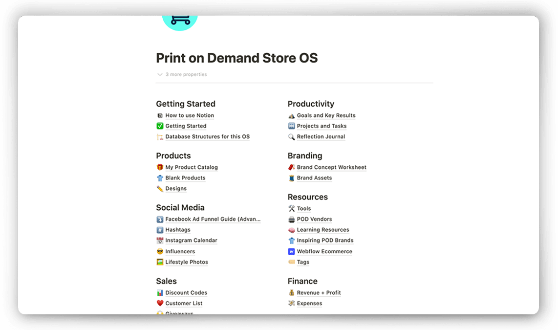Print on Demand Notion Template
