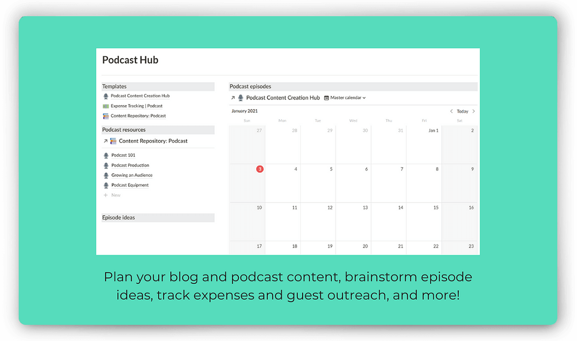 Notion Podcast Planner