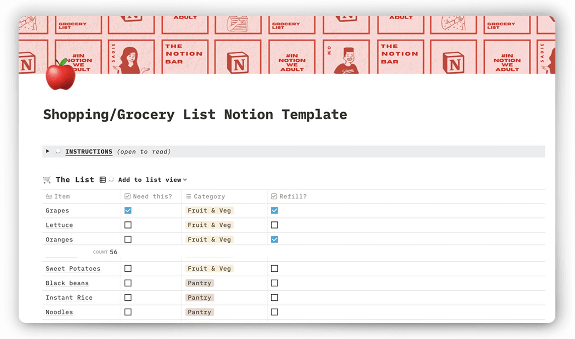 Notion Grocery Lists