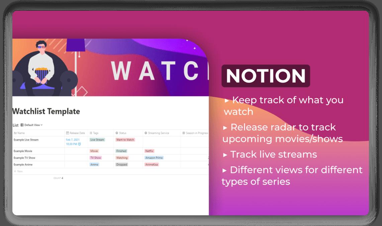 Watchlist Notion Template