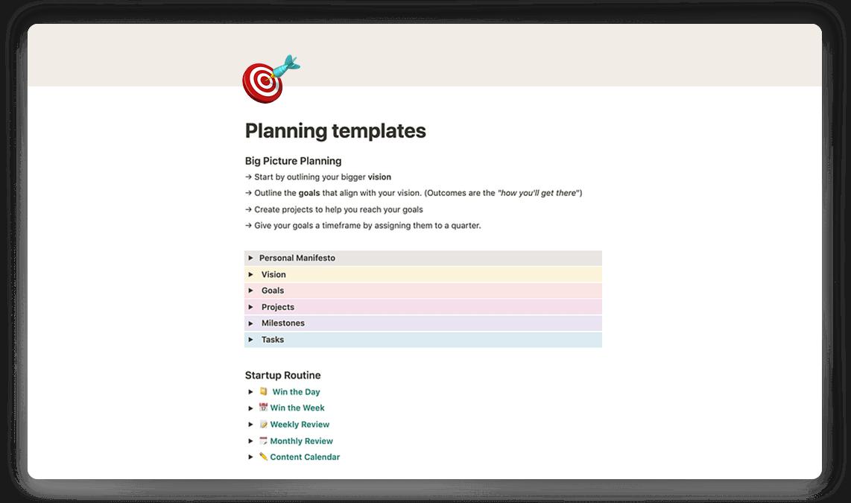 Notion Goal Planning
