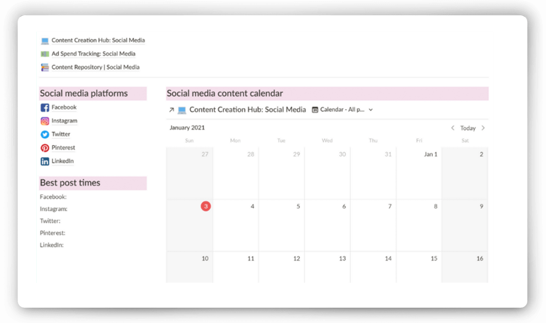 Notion Social Media Content Calendar