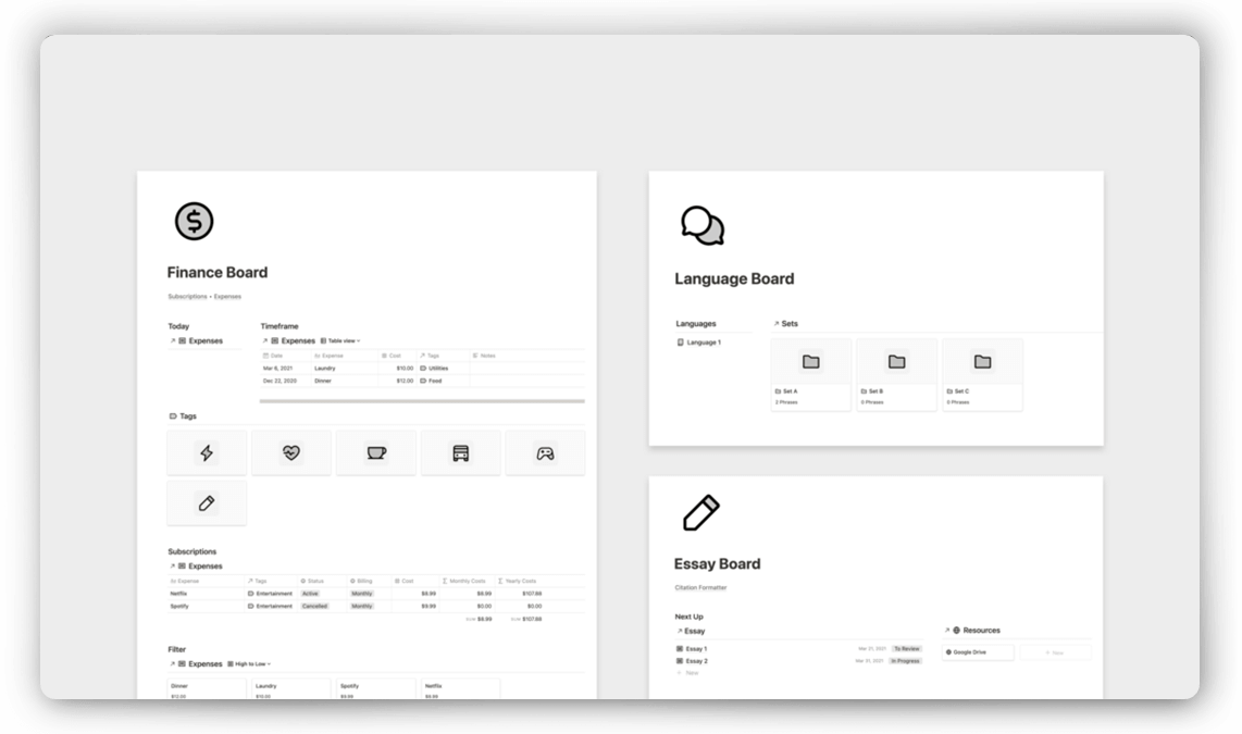 Notion Student Template Pack