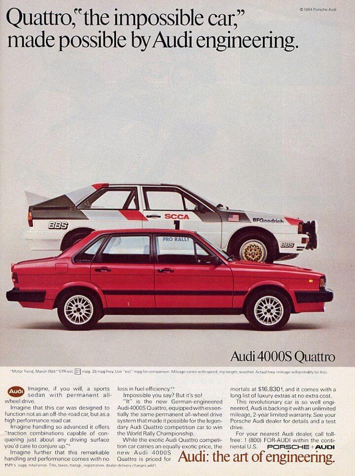 Audi Quattro Vintage Car Ads