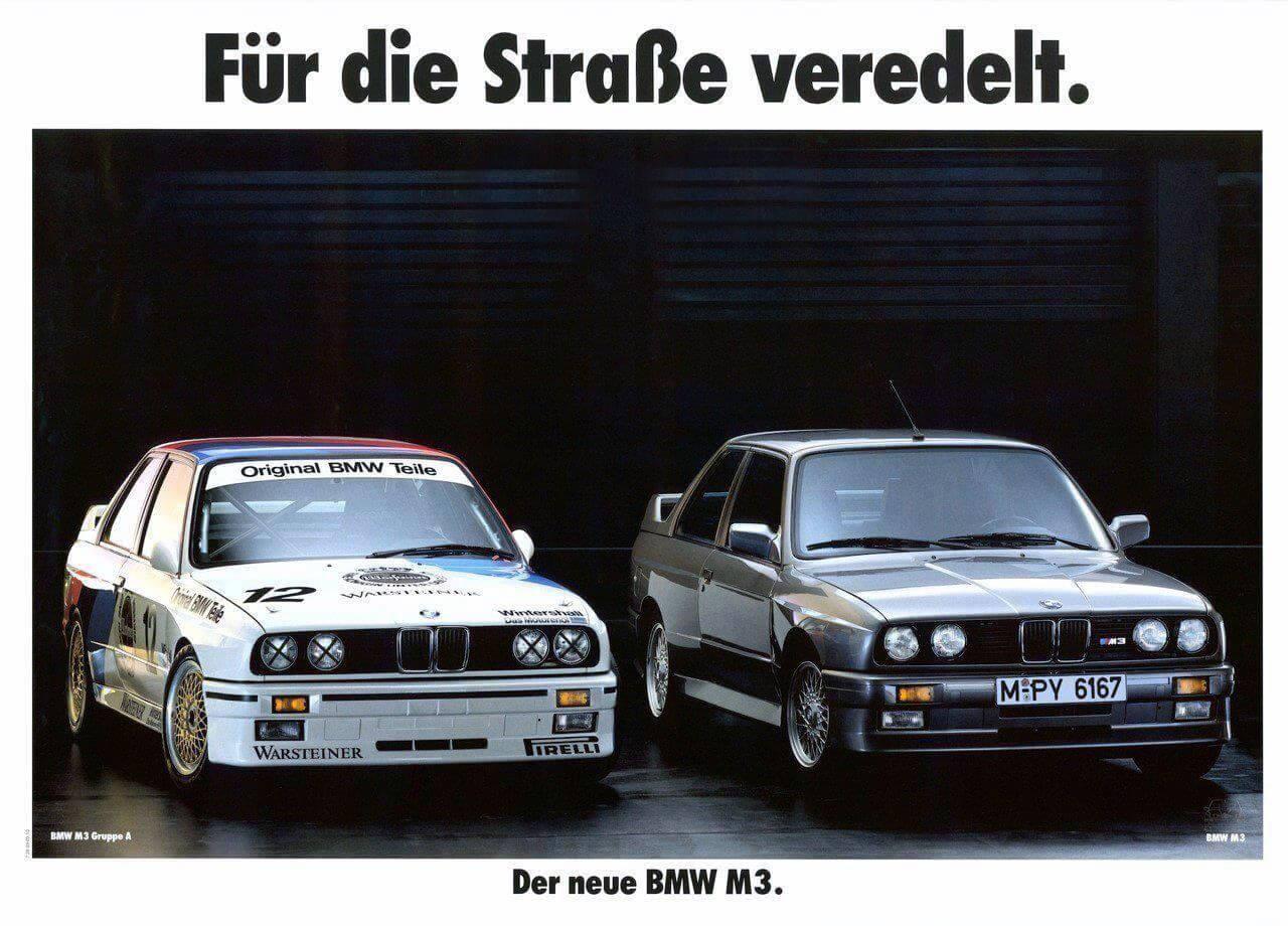 BMW E30 M3 Retro Car Ad