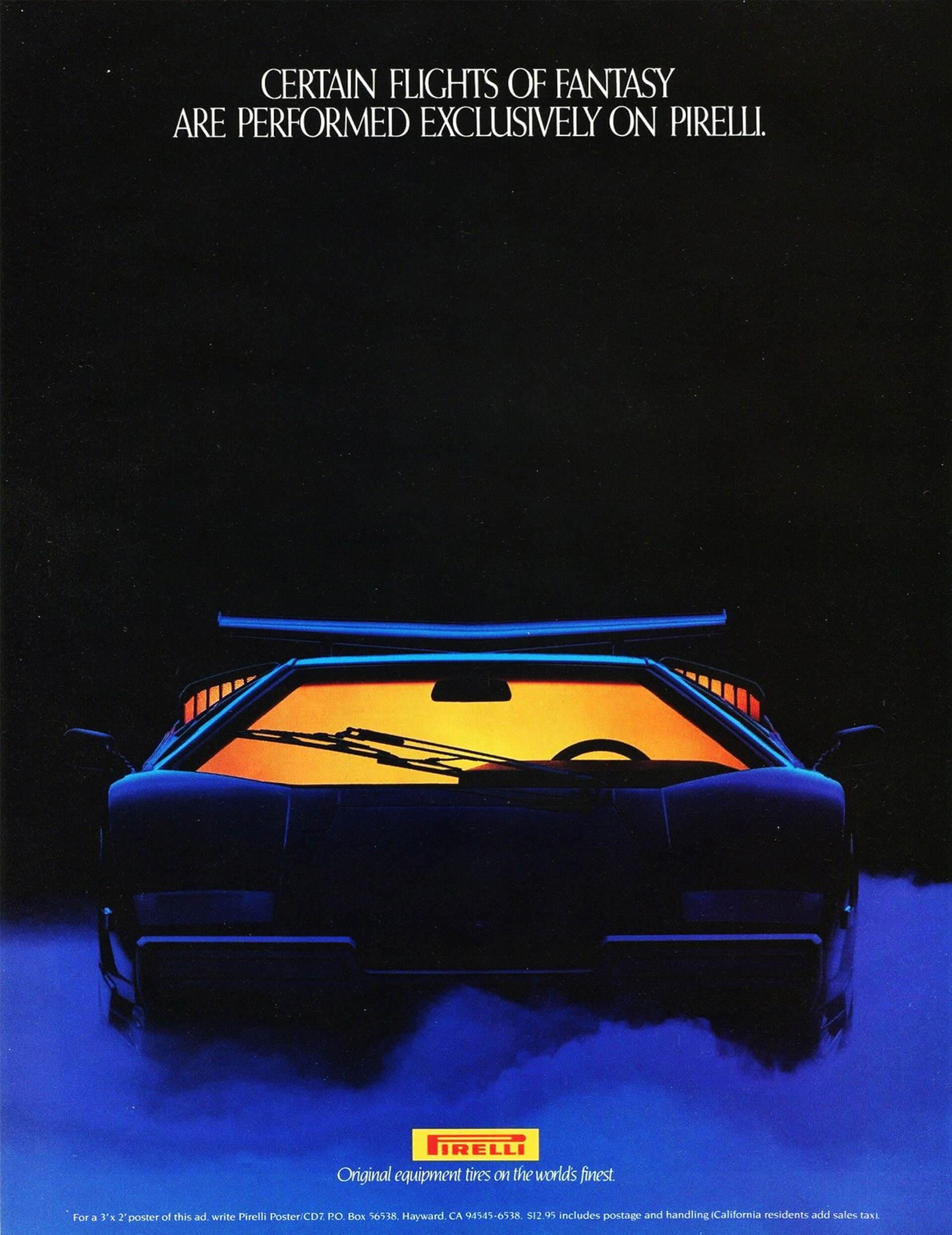 Pirelli's Lamborghini Countach Flight Retro Car Ad