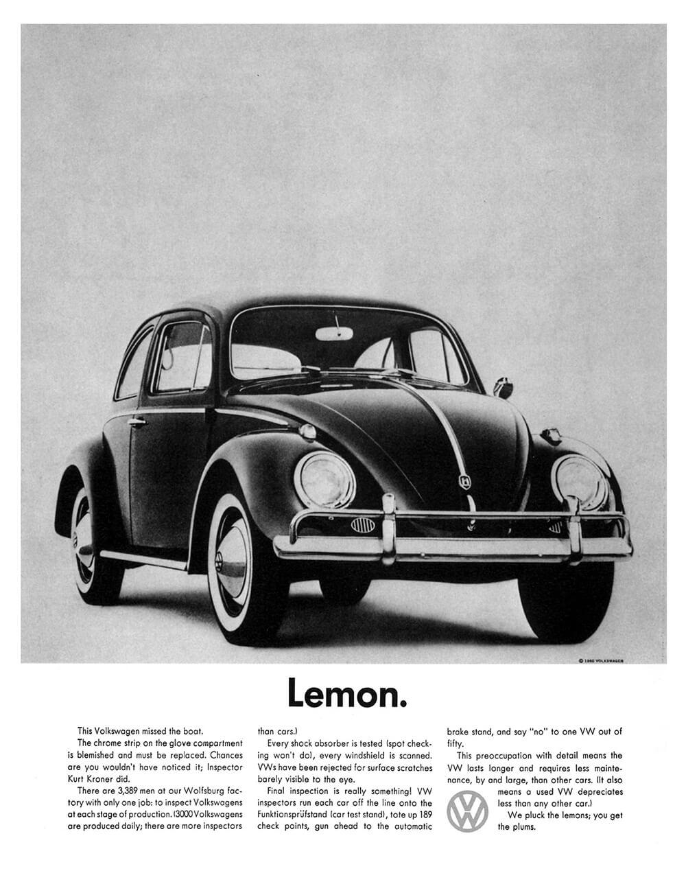 Volkswagen Lemon Vintage Car Ad