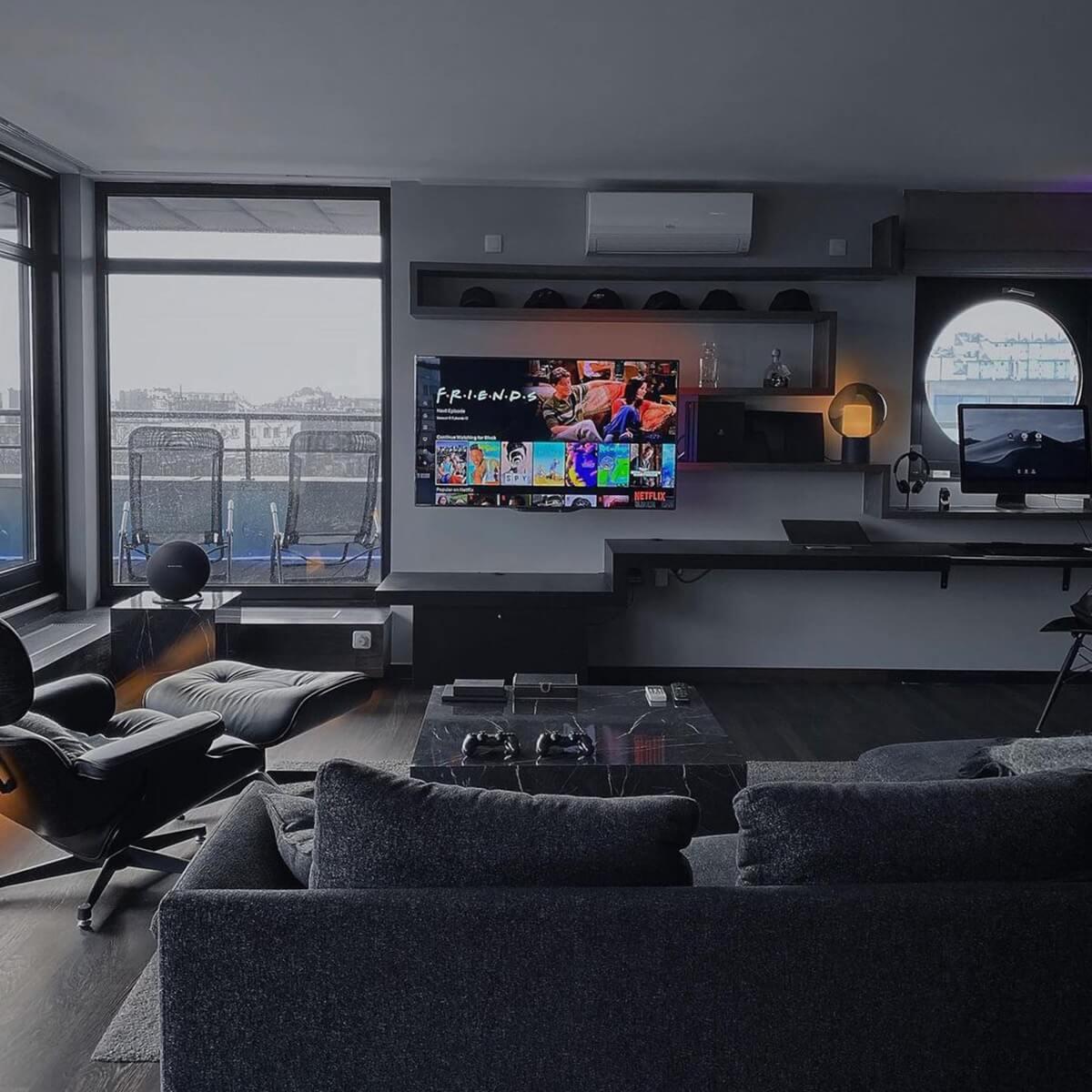 Hybrid Gaming Entertainment Center & Desk Setup