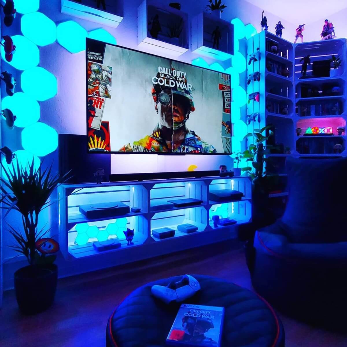 Colorful LED Gaming Entertainment Center