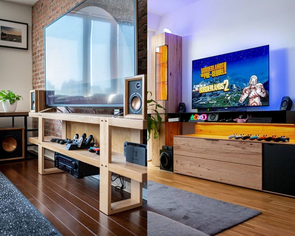 Wood TV Stand for Gaming