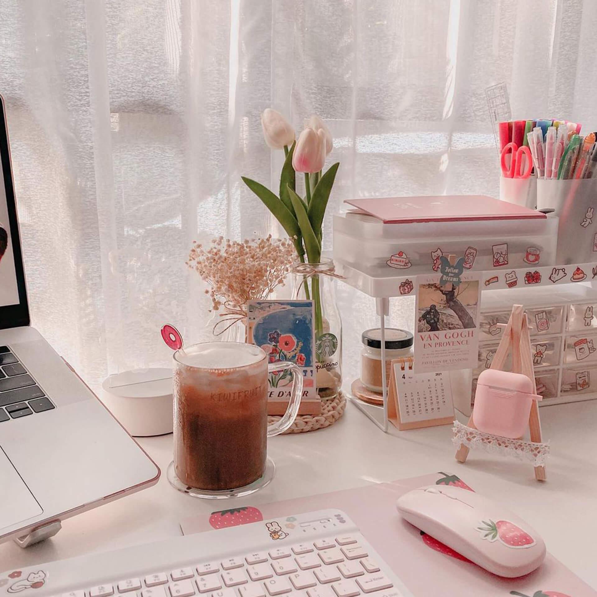 Pink Pastel Aesthetic Desk Setup