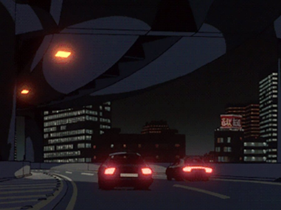 Anime Night City Drive in Car