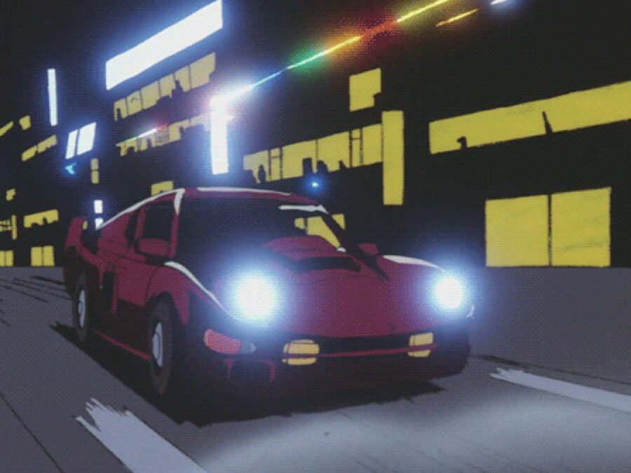 Neon Anime Night Car Cruising