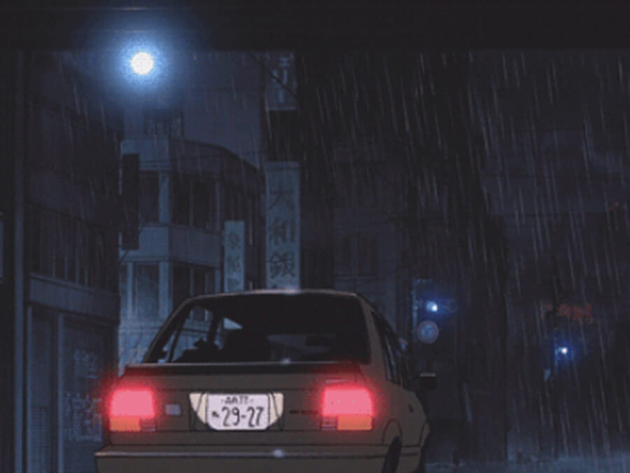 Rainy Anime Car Night
