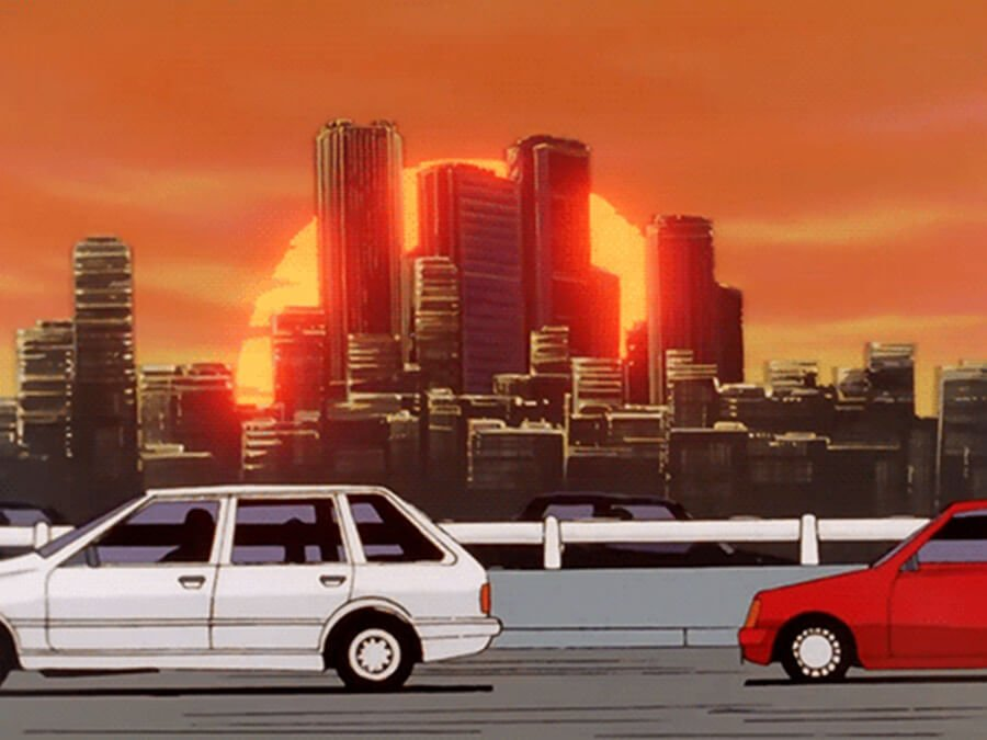 Sunset Car Cruise on a 90s Retro Anime Aesthetic