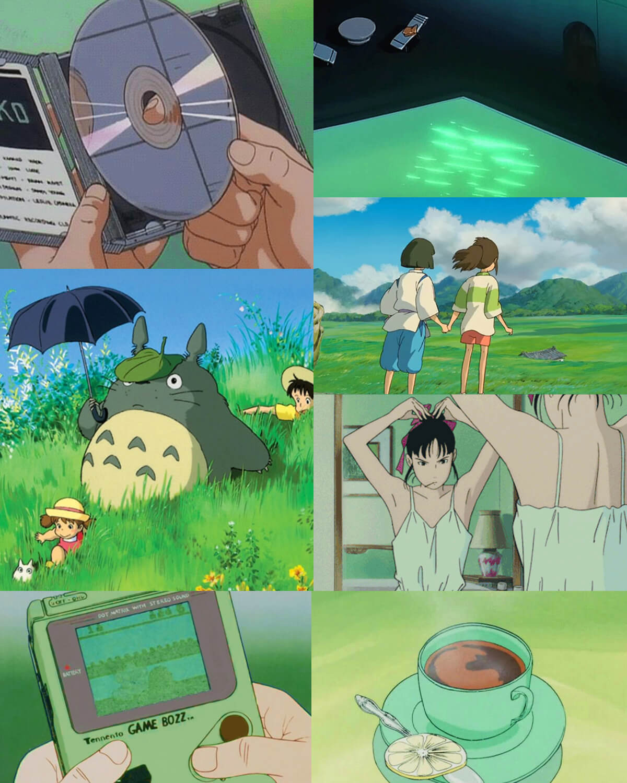 90s Aesthetic Green Anime