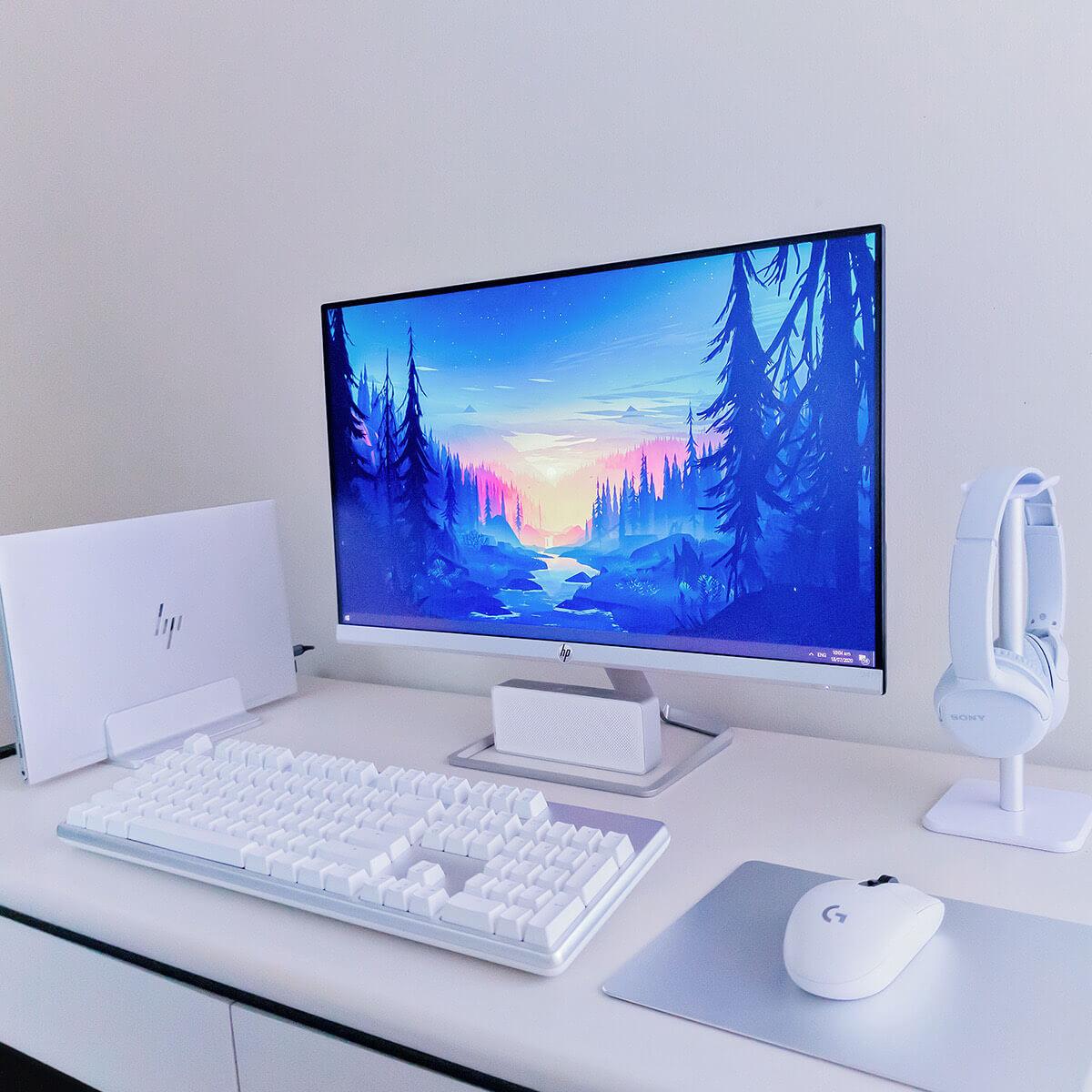 All White Minimalist Gaming Setup